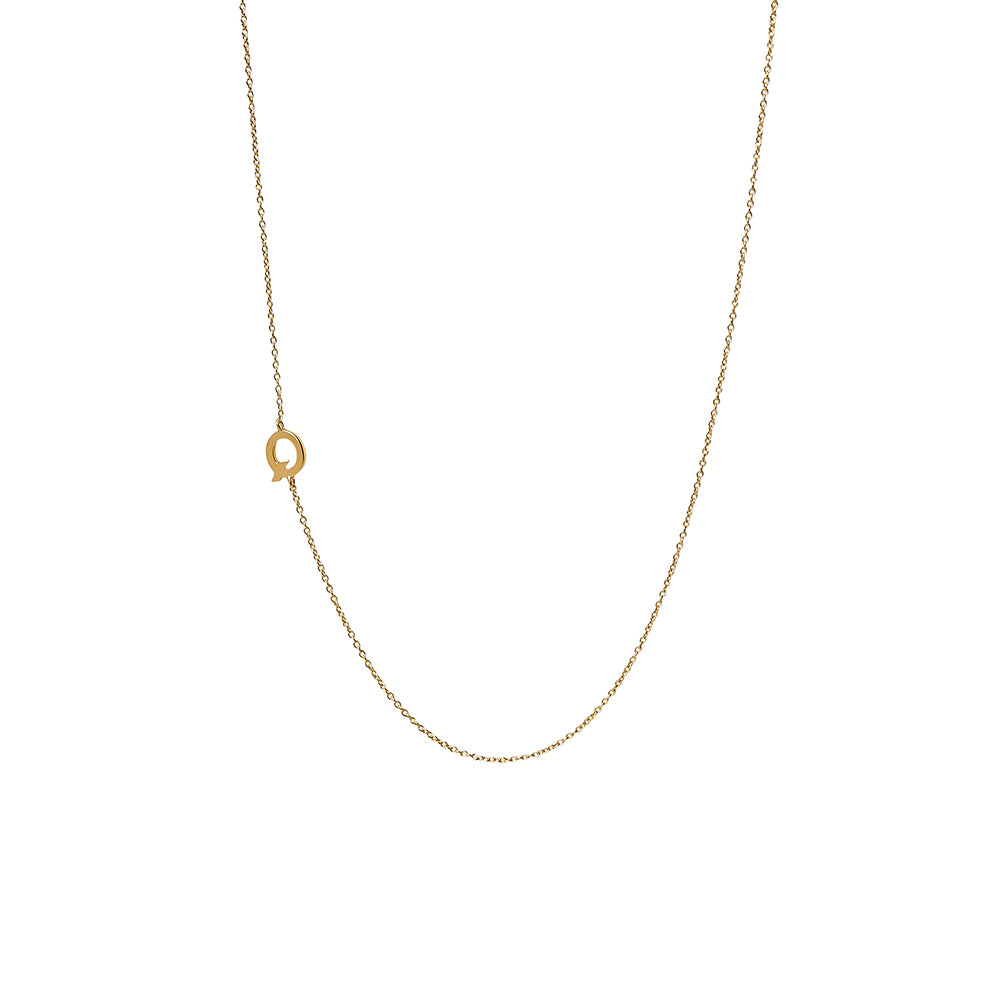 """Q"" Offset Initial Necklace"