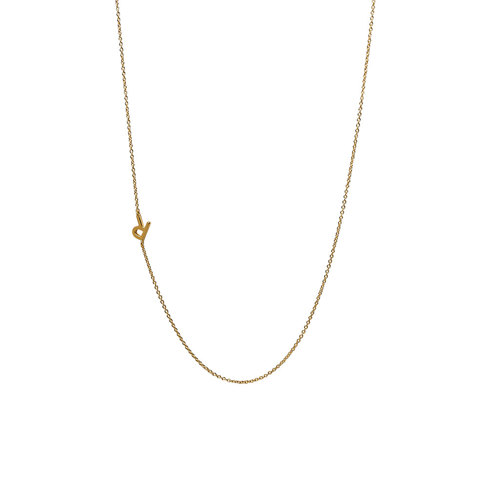 """R"" Offset Initial Necklace"
