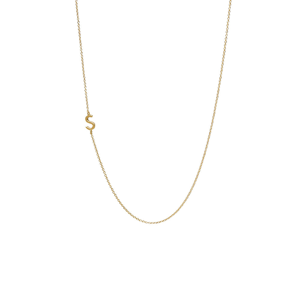 """S"" Offset Initial Necklace"