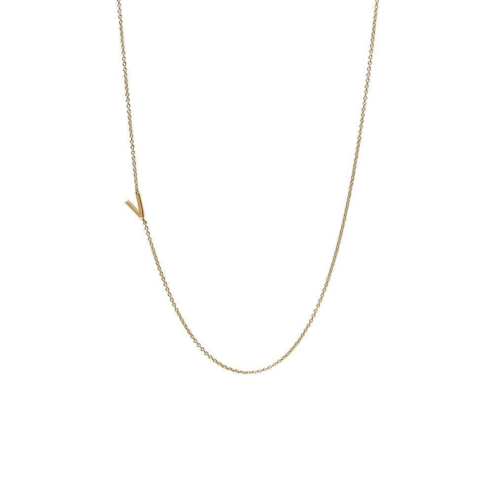 """V"" Offset Initial Necklace"