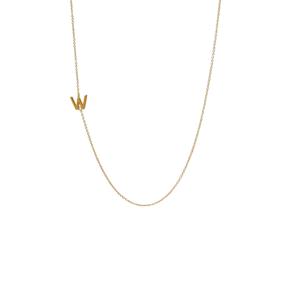 """W"" Offset Initial Necklace"