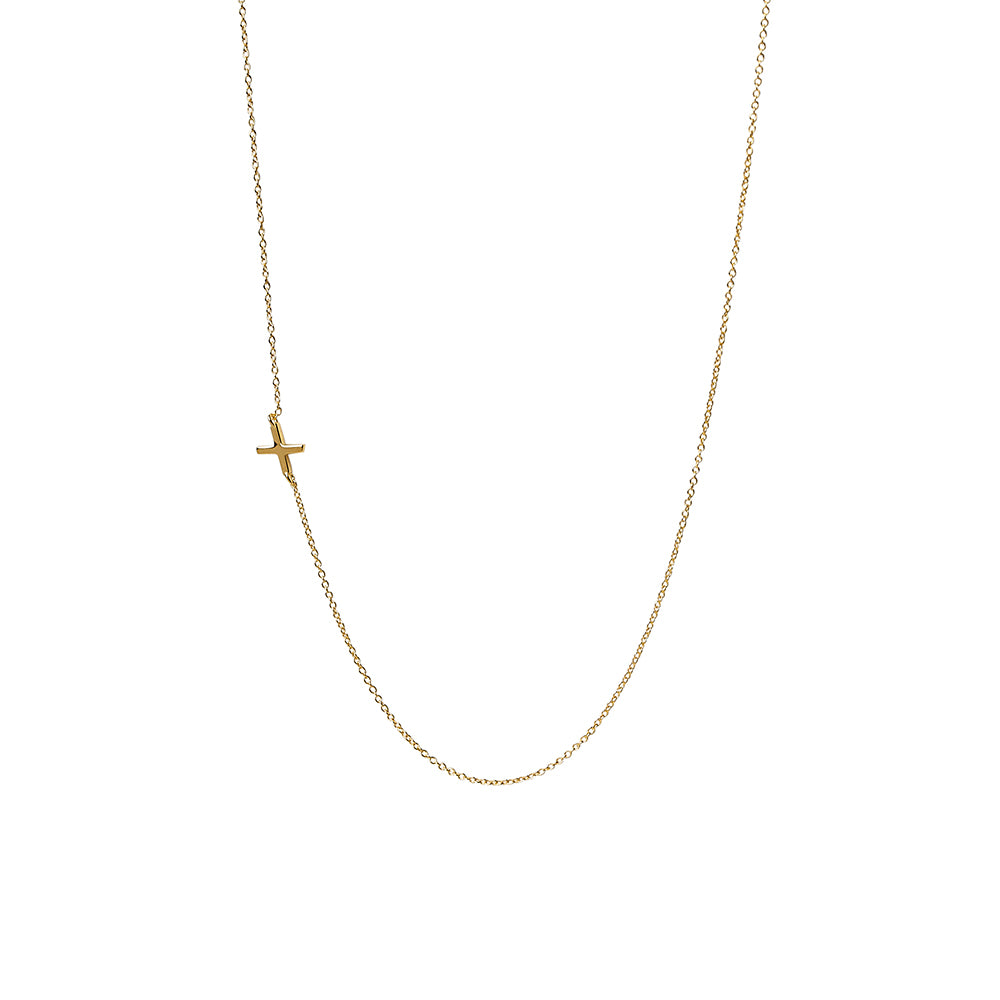 """X"" Offset Initial Necklace"
