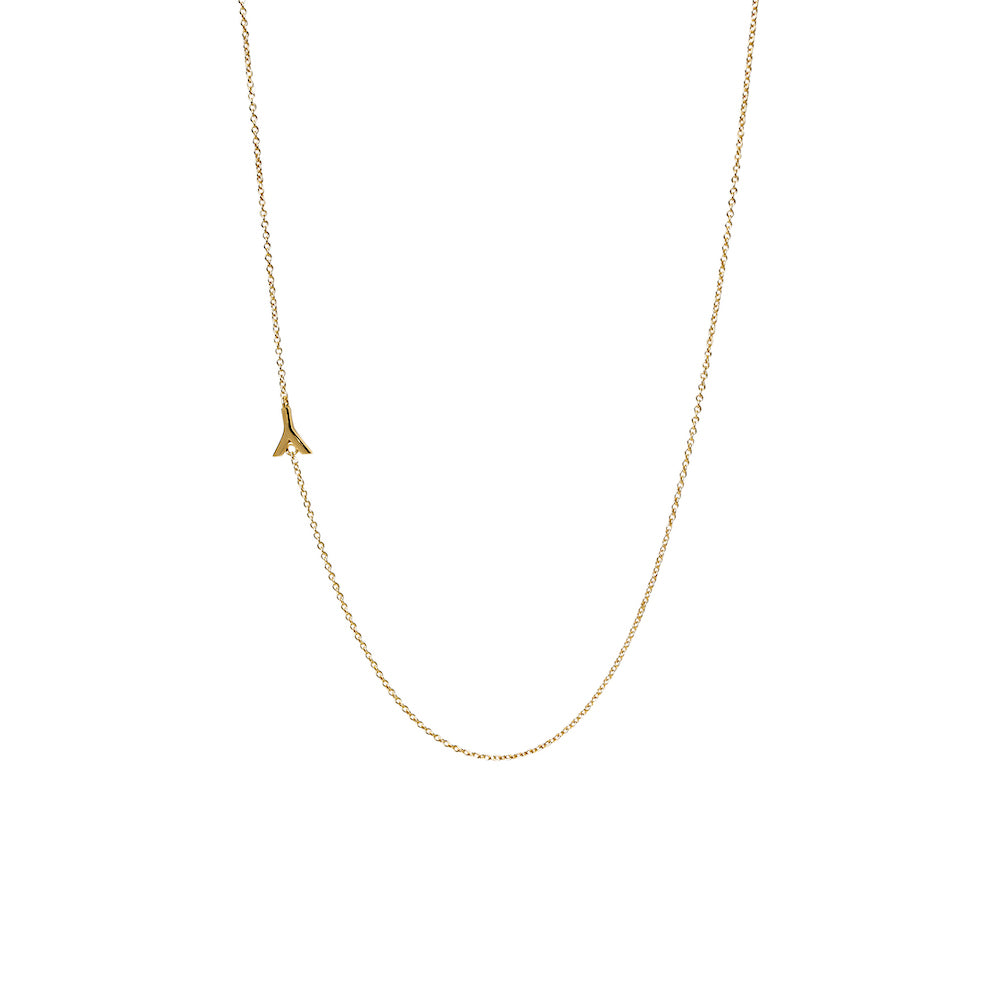"""Y"" Offset Initial Necklace"