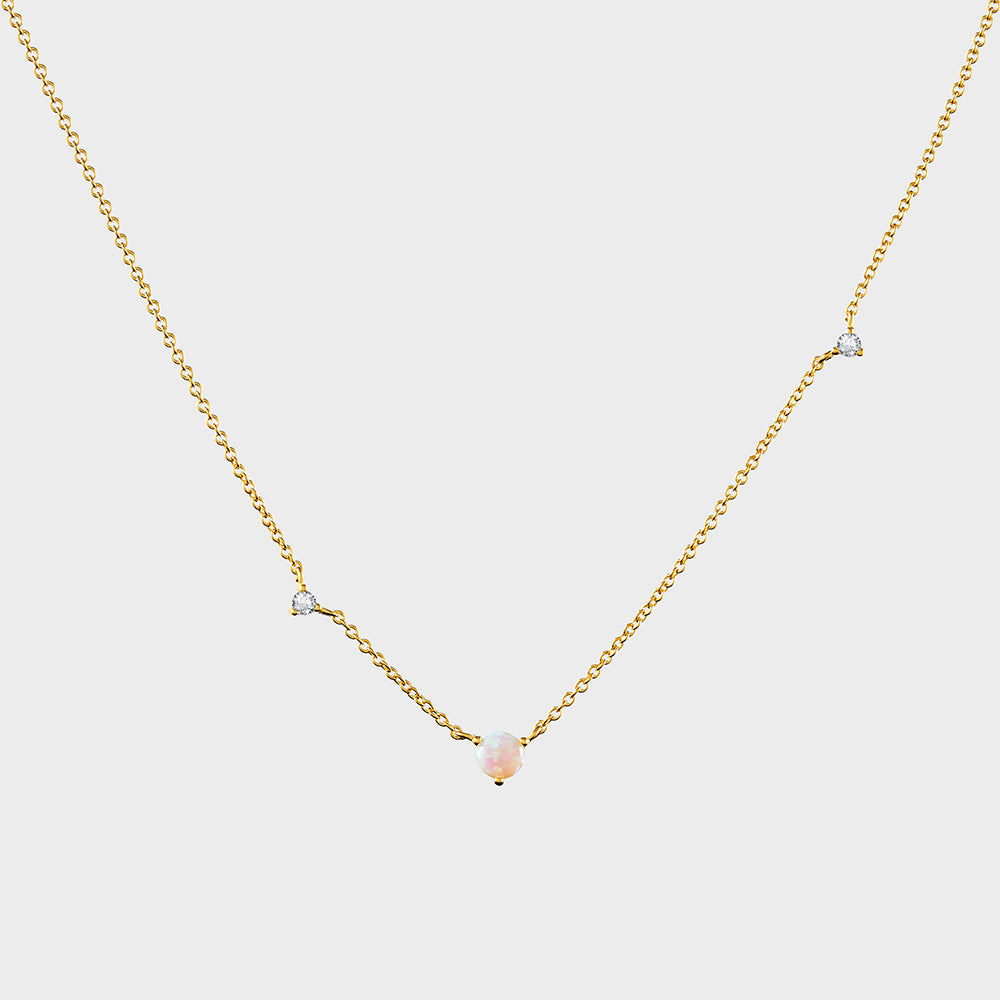 Asymmetric Offset Opal + CZ Necklace