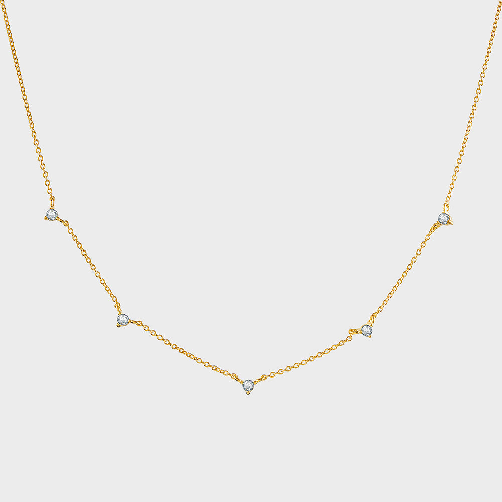 Tiny Spaced CZ Prong Choker Collar Necklace
