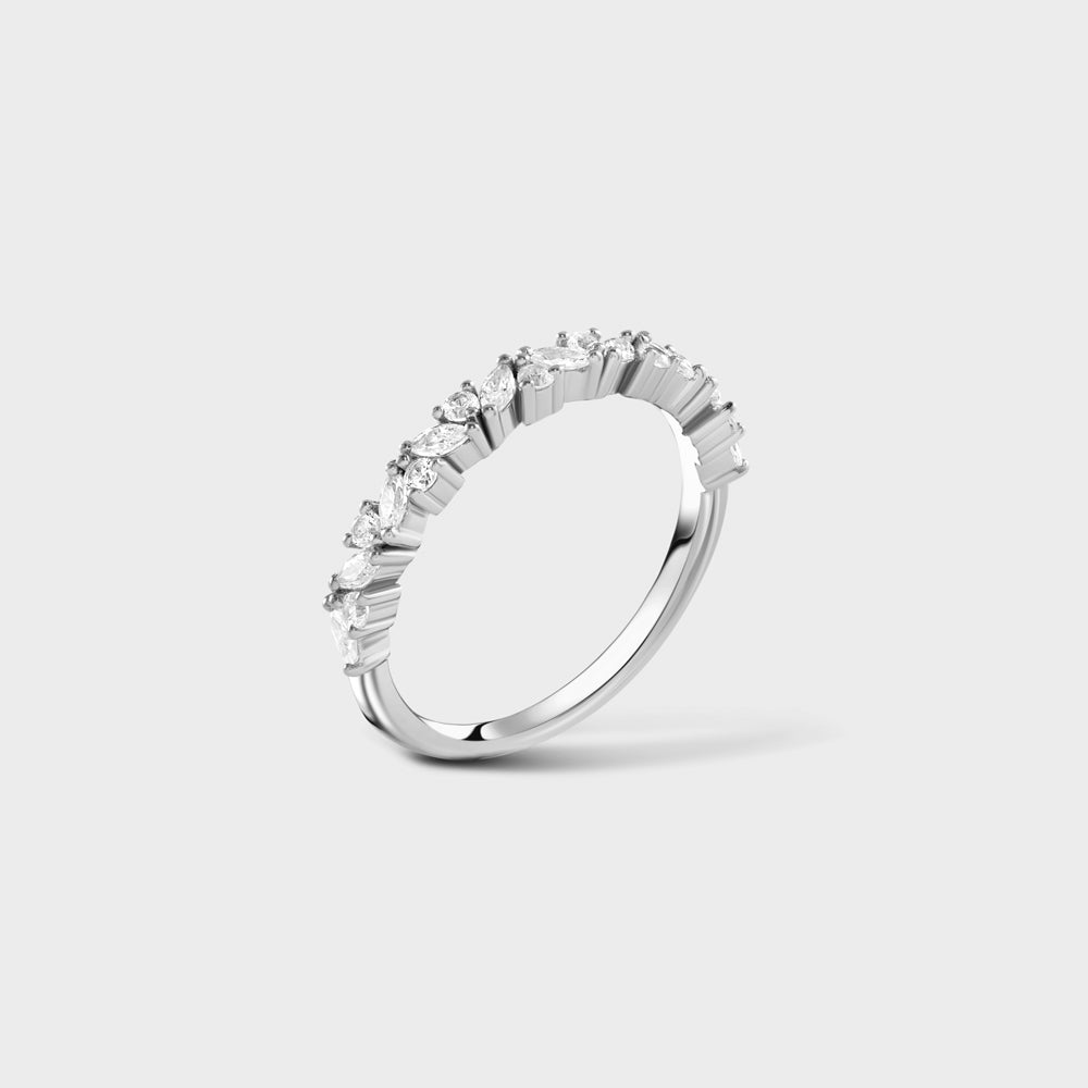Cluster Marquises + Round Pave CZ Half Way Ring