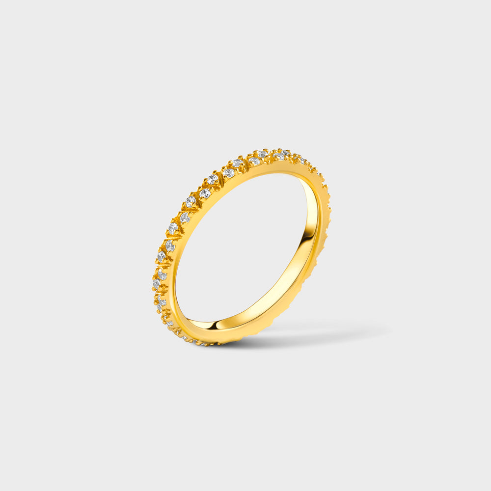 Pave CZ Triangle Eternity Band Ring