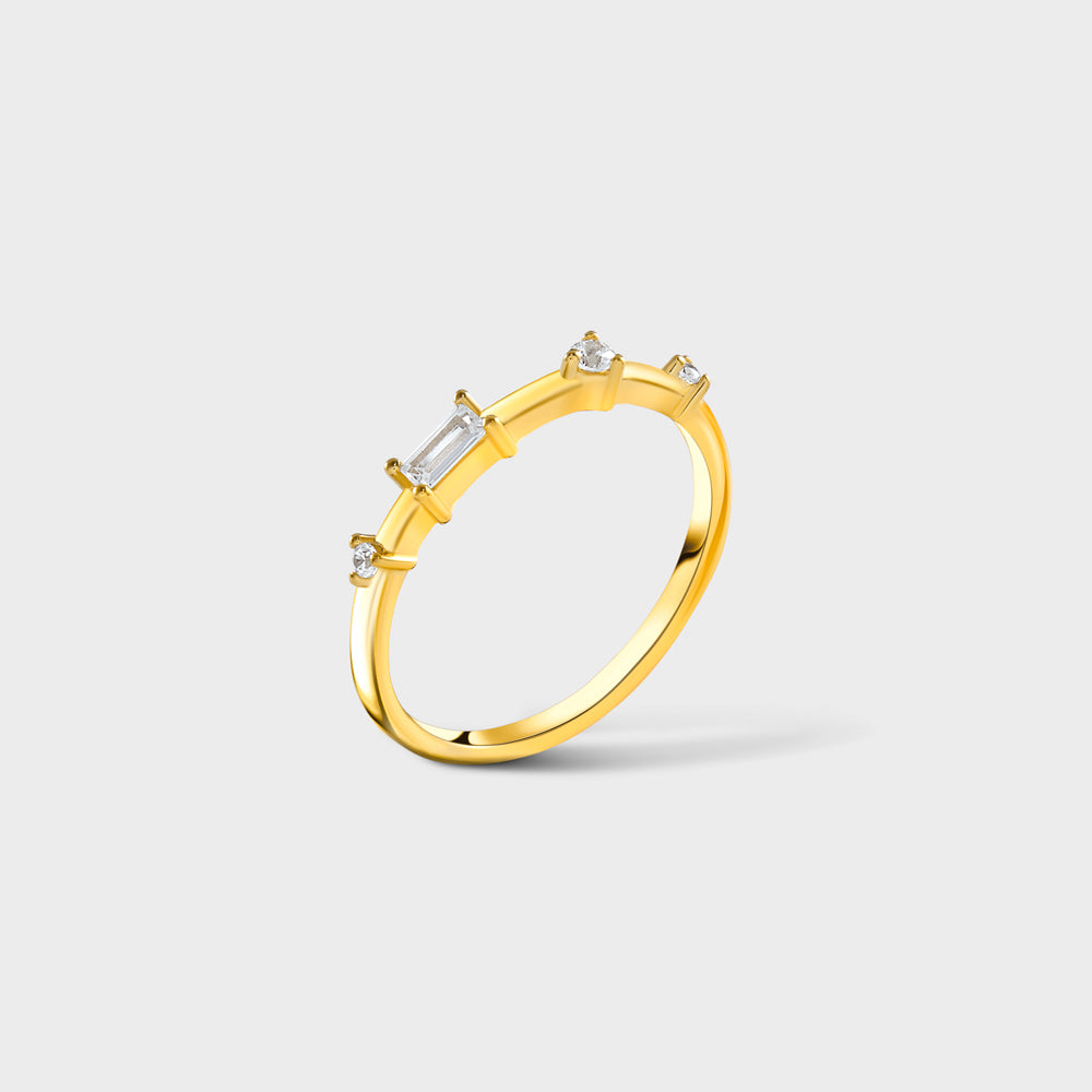 Multi Geo CZ Shapes Prong Ring