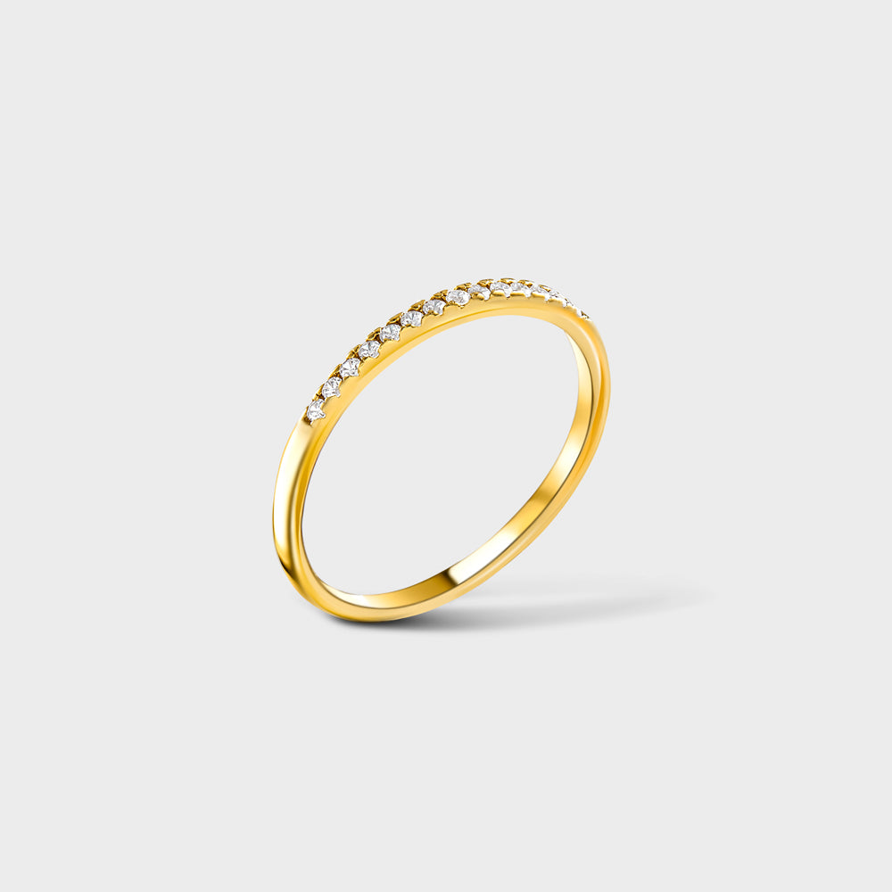 Pave Half Way Clear CZ Band Ring