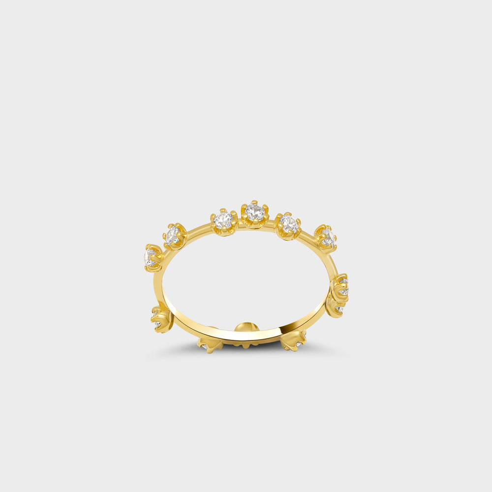 Scattered CZ Prong Band Ring