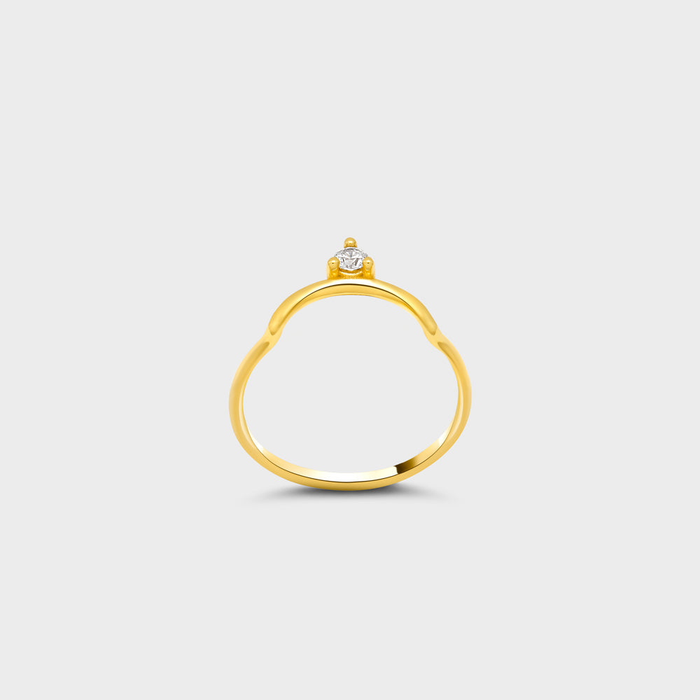 Floating CZ Solitaire Arc Ring