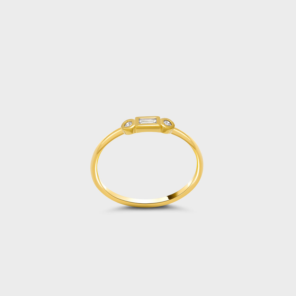 Bezel Round + Baguette CZ Deco Bar Ring
