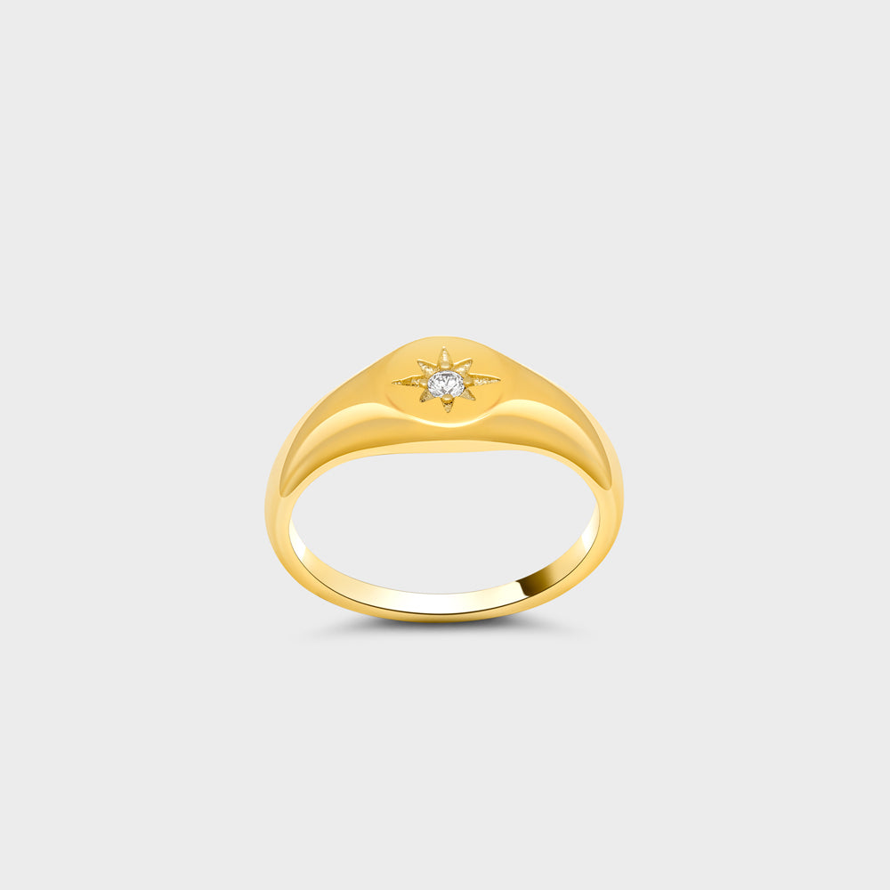 Signet Etched North Star CZ Solitaire Ring