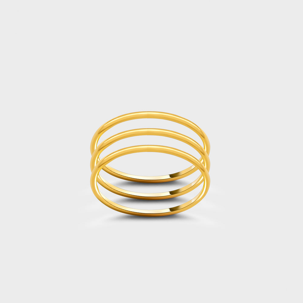 Triple Set 14k Gold Filled Plain Smooth Band Rings
