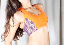 The Chante Bra Orange and Purple by Body Rock Sport