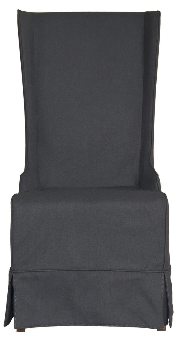 Atlantic Beach Wing Dining Chair - Slipcover only - Charcoal Linen - Padma's Plantation