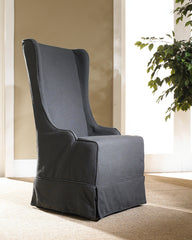 Atlantic Beach Wing Dining Chair - Charcoal Linen - Padma's Plantation