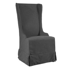 Atlantic Beach Wing Dining Chair - Slipcover only - Charcoal Linen