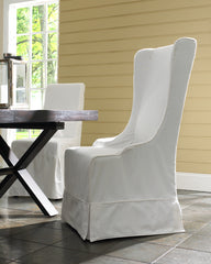 Atlantic Beach Wing Dining Chair - Slipcover only - Sunbleached White - Padma's Plantation