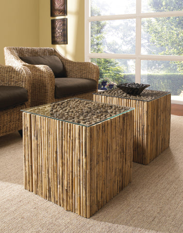 Bamboo Stick Bunching Table With Glass