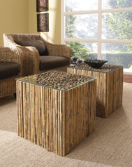 Bamboo Stick Bunching Table With Glass - Padma's Plantation