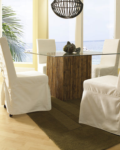 Bamboo Stick Dining Table Base With Glass