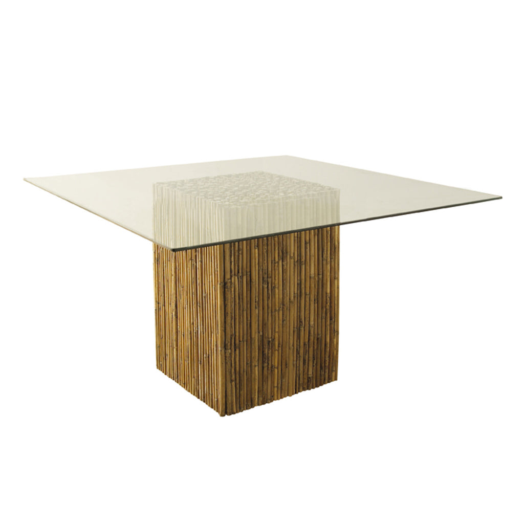 Bamboo Stick Dining Table Base With Glass by Padma s Plantation