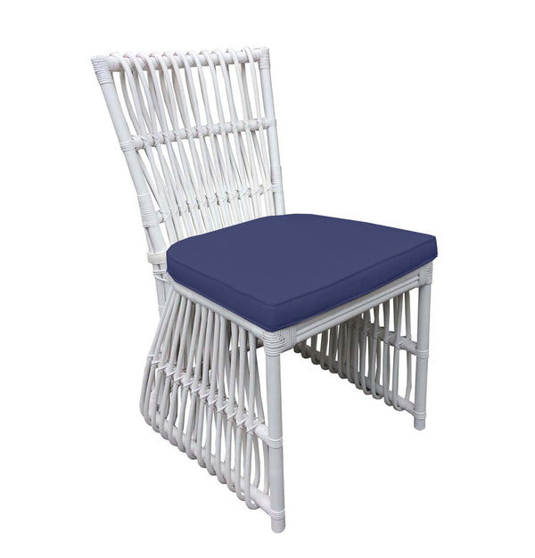BUNGALOW DINING CHAIR - WHITE – NAVY - Padma's Plantation