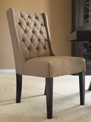 CAPTIVA ISLAND DINING CHAIR  - MUDDY BROWN LINEN - SET OF 2