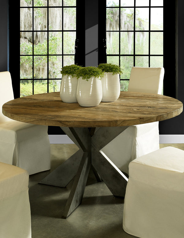EMILY ROUND RECYCLED TEAK WOOD DINING TABLE - 59