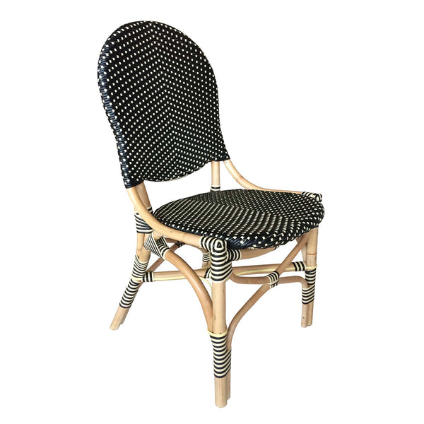 FRENCH BISTRO CHAIR -BLACK/BEIGE -SET OF 2 - Padma's Plantation