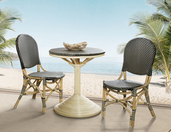 FRENCH BISTRO DINING TABLE - BLACK/BEIGE - Padma's Plantation