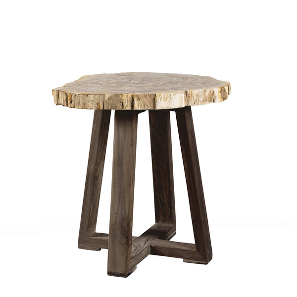 IBIZA PETRIFIED WOOD END TABLE - Padma's Plantation
