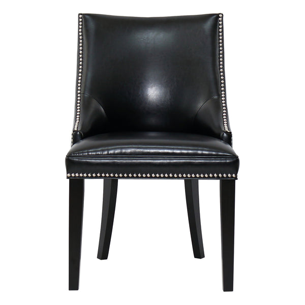 METRO DINING CHAIR - BLACK ECO-LEATHER - Padma's Plantation