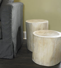 "NATURAL TREE STUMP SIDE TABLE 15"" / 17"" / 19"" - WHITE - Padma's Plantation"