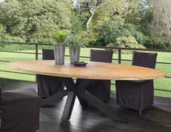 OUTDOOR CHIARA RECLAIMED TEAK OVAL DINING TABLE - Padma's Plantation