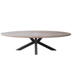 OUTDOOR CHIARA RECLAIMED TEAK OVAL DINING TABLE
