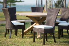 OUTDOOR DOMINICAN DINING CHAIR - COFFEE FINISH - SET OF 2