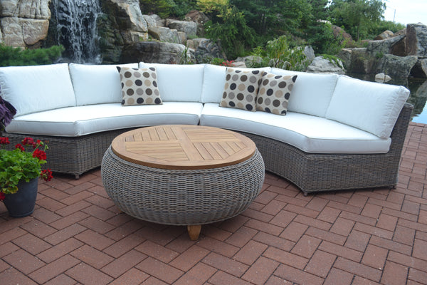 OUTDOOR PARADISE OTTOMAN WITH TEAK WOOD TOP - Padma's Plantation