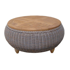 OUTDOOR PARADISE OTTOMAN WITH TEAK WOOD TOP