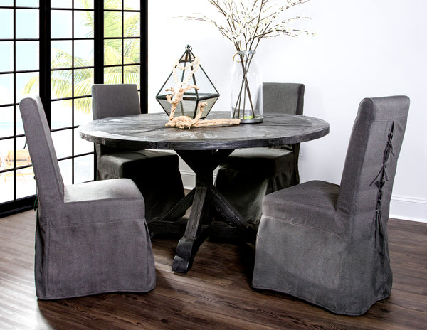 Pacific Beach Dining Chair - Charcoal Linen - Padma's Plantation