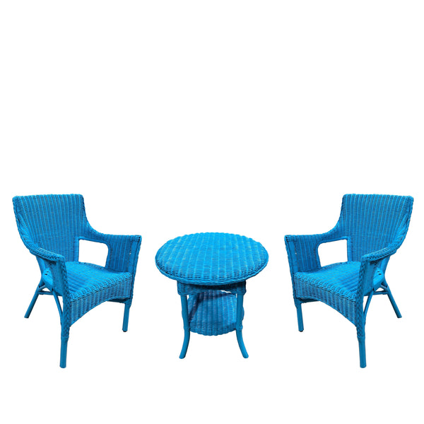 3pc SET - SHAR RATTAN TABLE AND 2 CHAIRS -BLUE/GREEN/DARK ESPRESSO - Padma's Plantation