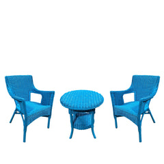 3pc SET - SHAR RATTAN TABLE AND 2 CHAIRS -BLUE/GREEN/DARK ESPRESSO