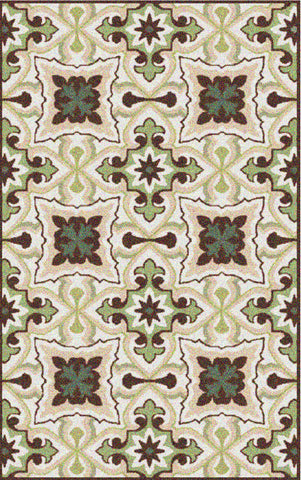 Cadiz Outdoor Rug - Gardenia / Dark Earth (More Sizes Available)