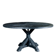 "SALVAGED WOOD DINING TABLE - 60"" ROUND - BLACK"