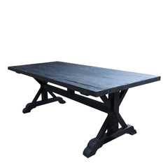 SALVAGED WOOD DINING TABLE - 84 - BLACK