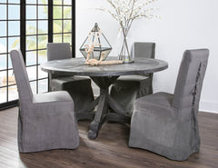 "SALVAGED WOOD DINING TABLE - 60"" ROUND - BLACK - Padma's Plantation"