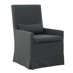 SANDSPUR BEACH ARM DINING CHAIR - WITH CASTERS - CHARCOAL GREY