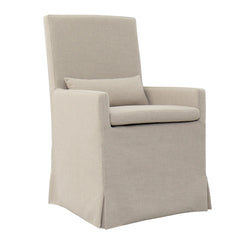 SANDSPUR BEACH ARM DINING CHAIR - WITH CASTERS - BRUSHED LINEN
