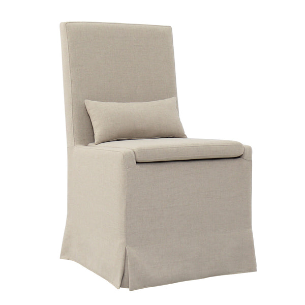 SANDSPUR BEACH DINING CHAIR W/ CASTERS- BRUSHED LINEN - Padma's Plantation